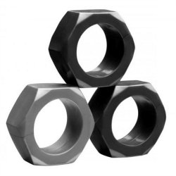 Tom of Finland Hex Nut Cock Ring Set - Set of 3 Sex Toy