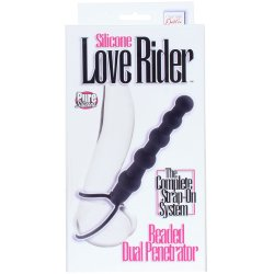 Silicone Love Rider: Beaded Dual Penetrator - Black Sex Toy