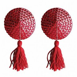 Ouch! Nipple Tassels - Round - Red Sex Toy
