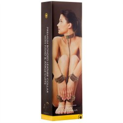 Shots Ouch! Brown Bonded Leather Collar With Wrist & Leg Cuffs sex toy.