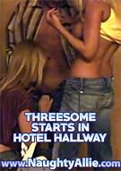 Threesome Starts In Hotel Hallway Porn Video