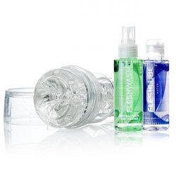 Fleshjack Go Torque Ice Combo Pack - Clear sex toy.