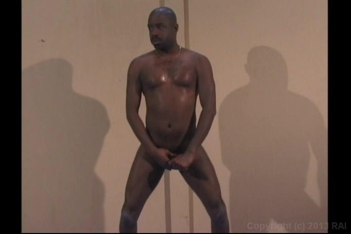 Horny black guy masturbating