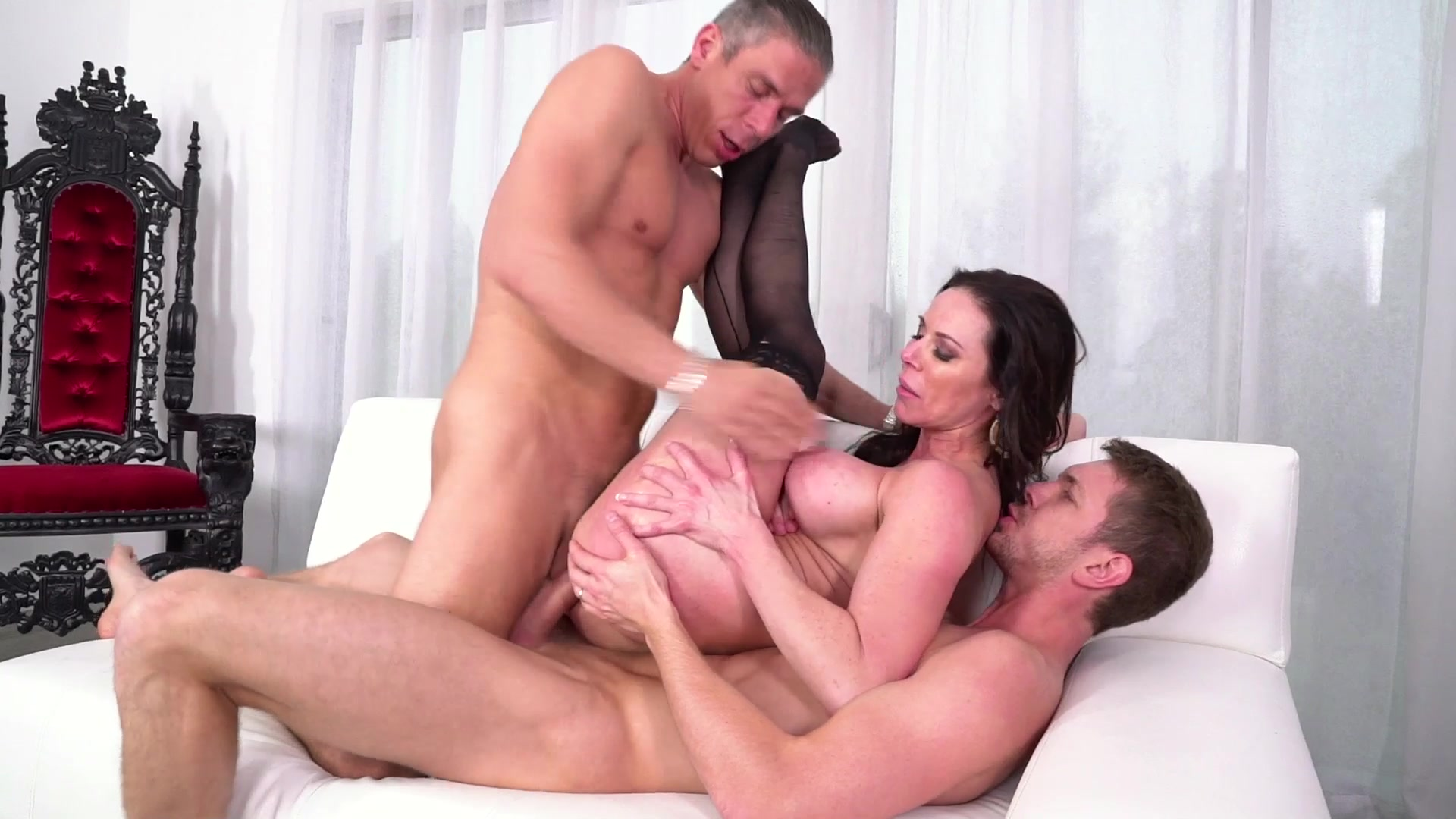 Hot brunette milf gets double penetration