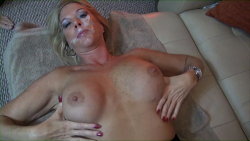 Busty blonde milf fucked and facialed