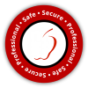 Adam & Eve Safe Secure Professional circular seal.