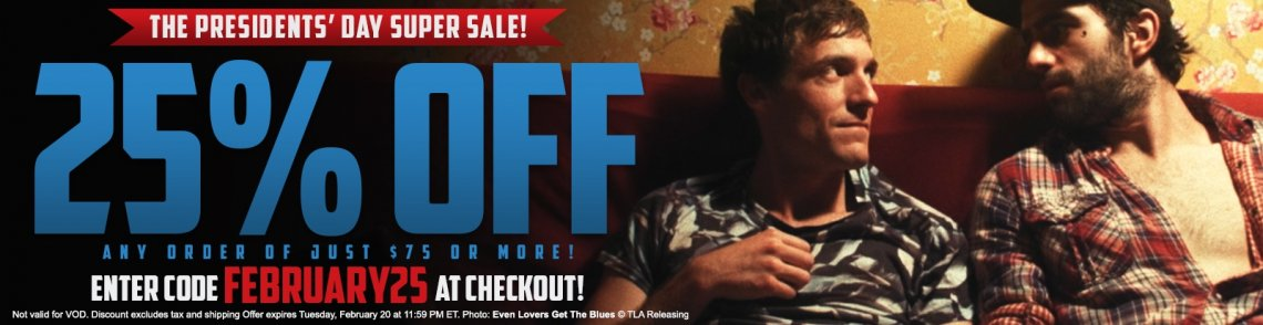 Shop gay cinema DVDs and save 25% with code FEBRUARY25 at checkout.