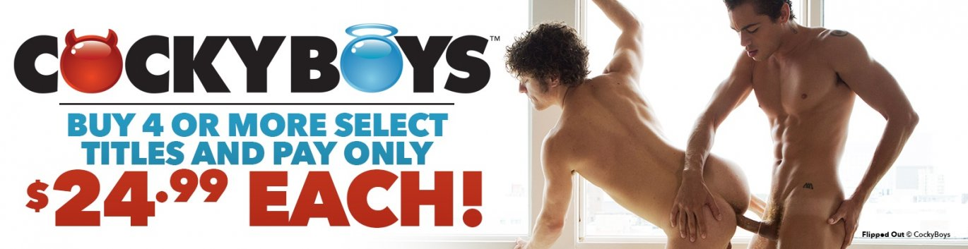 Shop Cocky Boys gay porn DVDs and save when you buy 4 or more.