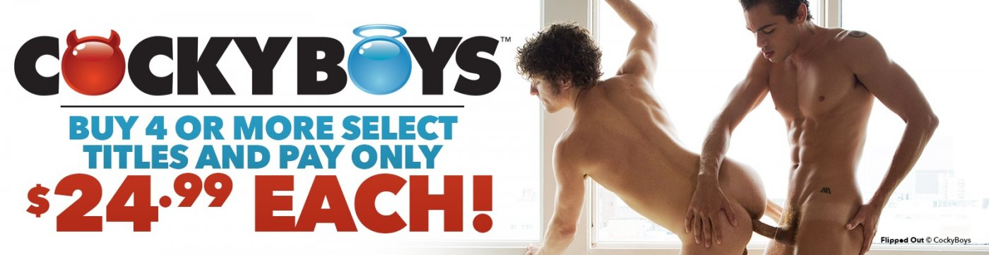 Shop CockyBoys gay porn DVDs and save when you buy 4 or more.