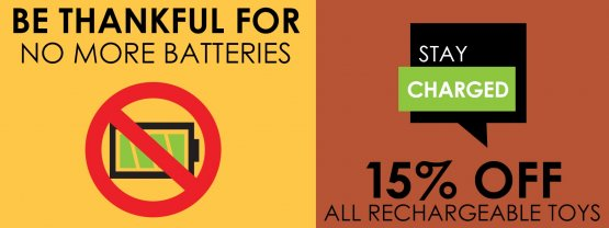 Be thankful for no batteries! Shop our Rechargeable Toys Sale and save 15%! - Browse now!
