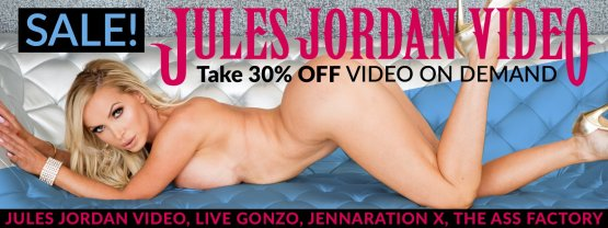 Save 30% on Jules Jordan Video porn VODs starring Nikki Benz and more.