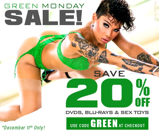 Save 20% on porn DVDs starring Honey Gold and more by entering code GREEN at checkout.