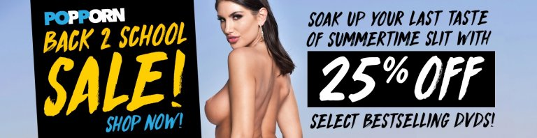 Save 25% on porn DVDs starring August Ames and more in the Back to School sale.