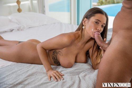 Gorgeous busty brunette Bridgette B loves big cock in her pussy