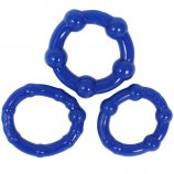 Stay Hard: Beaded Cock Rings - Blue - 3 Pack Product Image