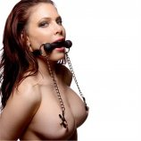 Silicone Bit Gag With Nipple Clamps Product Image