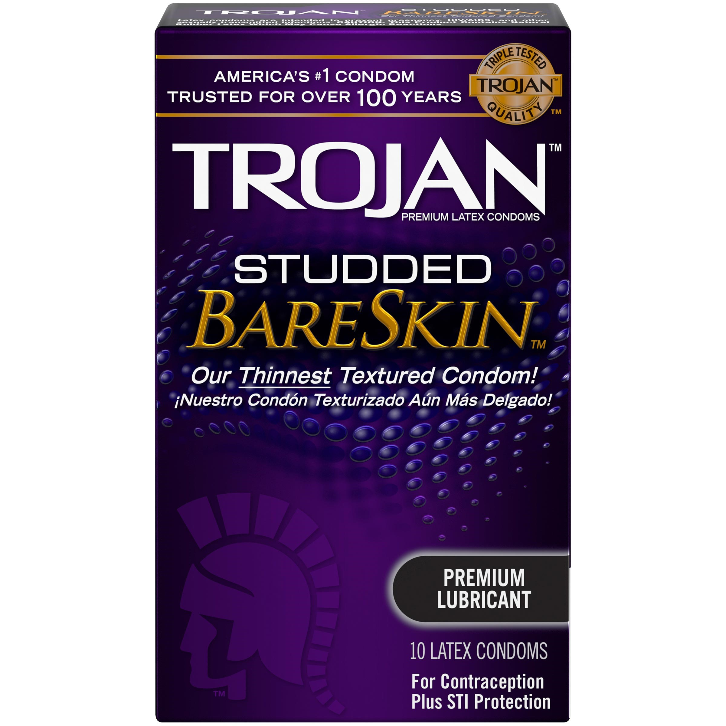 Trojan Studded Bareskin - 10 Pack  Gay Sex Toys  Gay Dvd -9252