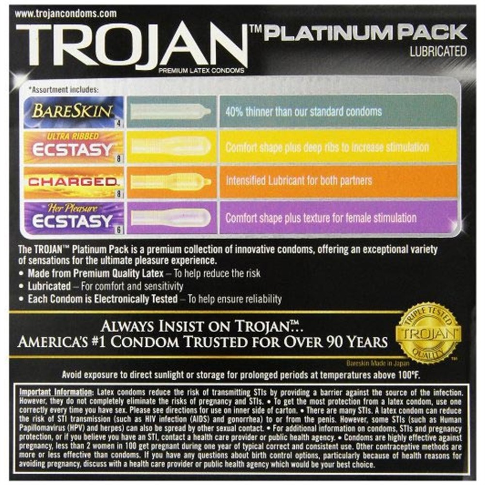 Trojan Platinum Pack Latex Condoms - 26 Pk  Sex Toys At -4595