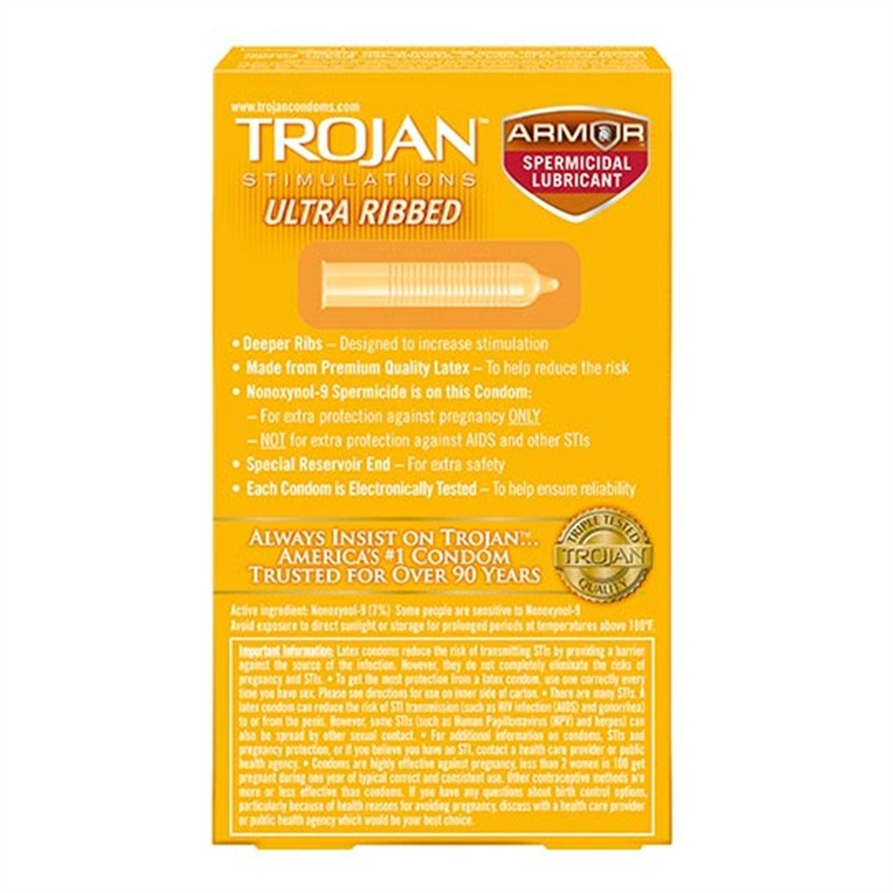 Trojan Ultra-Ribbed Condoms - Spermicidal - 12-Pack  Sex -9217