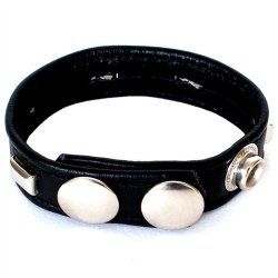 Studded Sewn Leather Cock Ring 1 Product Image