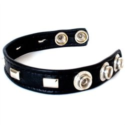 Studded Sewn Leather Cock Ring 5 Product Image