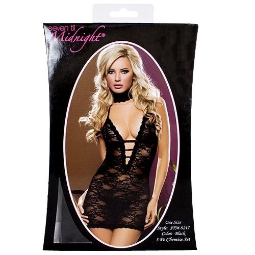 Midnight Affair Chemise Set - Black 3 Product Image