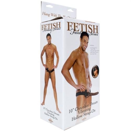 "Fetish Fantasy - 10"" Vibrating Hollow Strap-On - Chocolate Dream 8 Product Image"