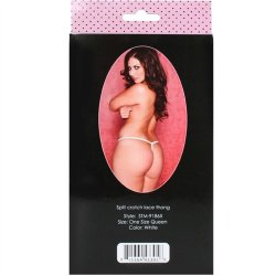 Tina Crotchless Thong - White Queen 5 Product Image