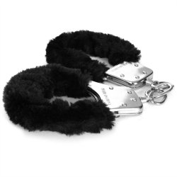 Sex & Mischief: Furry Handcuffs - Black 4 Product Image
