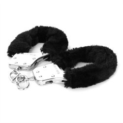 Sex & Mischief: Furry Handcuffs - Black 6 Product Image