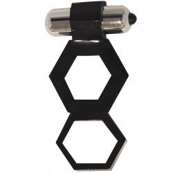 Hung: Lug Nutz Vibrating Cock & Ball Ring - Black 1 Product Image