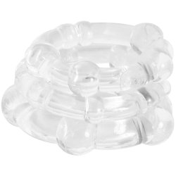 Stay Hard: Beaded Cock Rings - Clear - 3 Pack 3 Product Image
