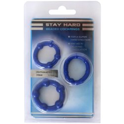 Stay Hard: Beaded Cock Rings - Blue - 3 Pack 7 Product Image