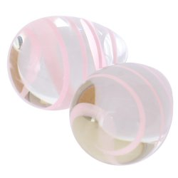 Crystal Premium Glass - Kegel Eggs - Clear with Pink Stripes 4 Product Image