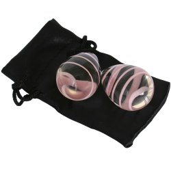 Crystal Premium Glass - Kegel Eggs - Clear with Pink Stripes 6 Product Image