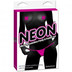 Neon Vibrating Crotchless Panty & Pasties Set - Pink Product Image
