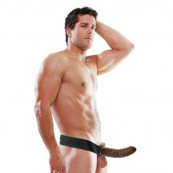 """Fetish Fantasy 8"""" Hollow Strap-On - Brown 4 Product Image"""