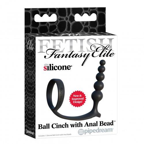 Fetish Fantasy Elite Ball Cinch w/ Anal Beads - Black 7 Product Image