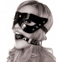 Fetish Fantasy Masquerade Mask & Ball Gag Restraint - Black Product Image