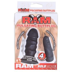 Ram Waterproof Pulsating Buttplug - Black 4'' 9 Product Image