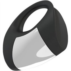 Ovo: B8 Silicone Cock Ring - Black And Chrome 4 Product Image