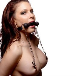 Silicone Bit Gag With Nipple Clamps 1 Product Image