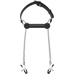Silicone Bit Gag With Nipple Clamps 2 Product Image