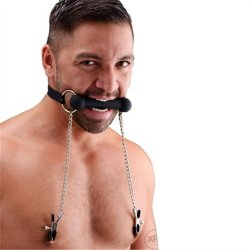 Silicone Bit Gag With Nipple Clamps 4 Product Image
