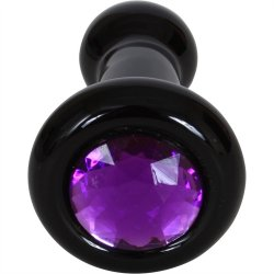 Black Rose: Violet Gems Small Glass Butt Plug 4 Product Image