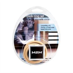 M2M Nitrile Cock Ring - Pack of 3 - Nude 4 Product Image