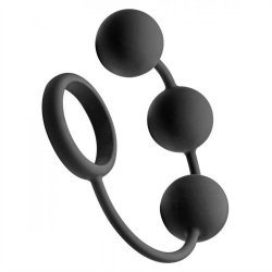 "Tom Of Finland Silicone Cock Ring With 3 Weighted Balls - Black - 12"" Product Image"
