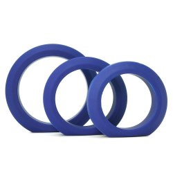 Tom Of Finland 3 Piece Silicone Cock Ring Set - Blue 1 Product Image