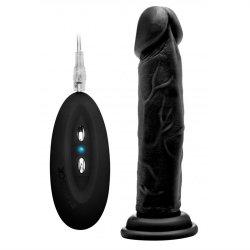 "RealRock: Vibrating Realistic Cock - 8"" - Black Product Image"