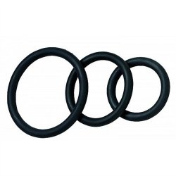 Nitrile Cock Ring Set - 3-Pack - Black Product Image